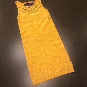 Bebe Mustard Yellow Bodycon Dress w/Cutouts